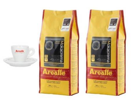 Kawa ziarnista Arcaffe Mokacrema 2x1kg + Porcelanowa filiżanka Arcaffe ze spodkiem do espresso